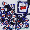 Murrine effetre rosso-critstallo-blu 50g. ca.6-9mm