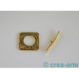 Knebelverschluss 18x18mm, Bohrung 3mm, goldfarbig_4169