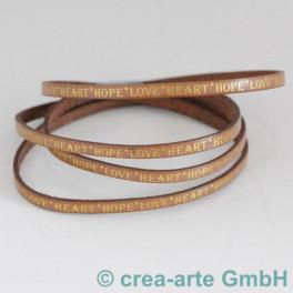 Flachlederband braun mit Prägung LOVE 1m_4290