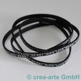 Flachlederband schwarz mit Prägung LOVE 1m_4291