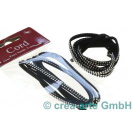 Suede Cord 5mm x 1m,  facettierte Steine, schwarz_4775