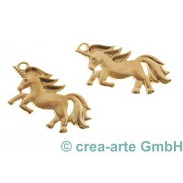 Einhorn Anhänger mit Oese, goldfarbig_5120