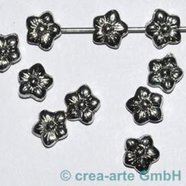 Metallperle Blume, nickelfarbig, 10 St._584