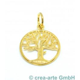 Lebensbaum-Anhänger 925er Silber, vergoldet, 17mm_6135