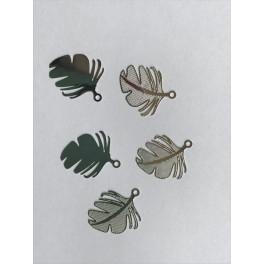 Edelstahl-Anänger Tropische Blätter_6495