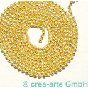 Kugelkette, 1.4mm, Metall, vergoldet, 1m