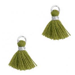 Perlenquaste, olivgrün, Ring silberfarbig_7285