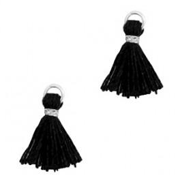 Perlenquaste, schwarz, Ring silberfarbig_7286