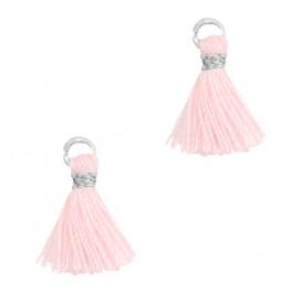 Perlenquaste, pink, Ring silberfarbig_7288