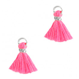 Perlenquaste, pink, Ring silberfarbig_7296