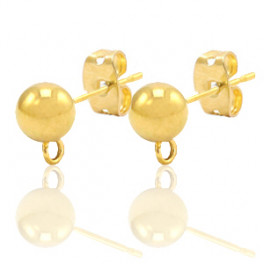 Ohrringe, goldfarbig, 6 Stück