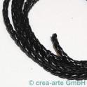 Lederschnur geflochten 3mm schwarz per Meter